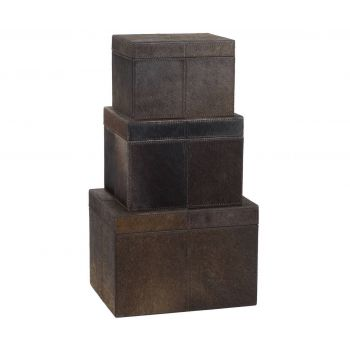 ELK S/3 Nested Chestnut Faux Pony Boxes in Brown