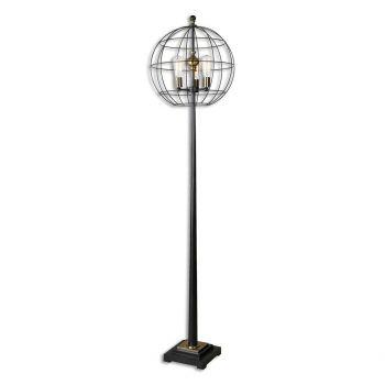 "Uttermost Palla 74.25"" 3-Light Round Cage Floor Lamp in Aged Black"