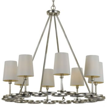 """Crystorama Graham 30"""" 8-Light Chandelier in Antique Silver"""