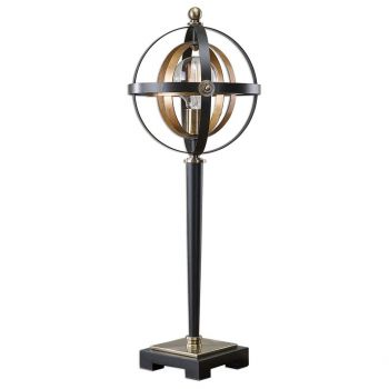 "Uttermost Rondure 28"" Sphere Table Lamp in Dark Bronze/French Gold Leaf"
