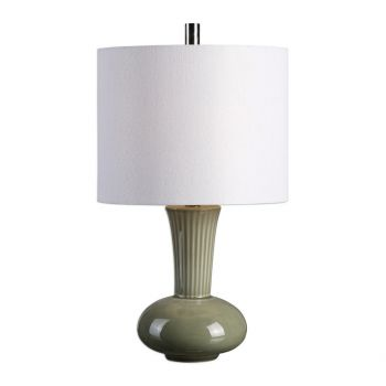"""Uttermost Luray 17.5"""" Ribbed Fluted Neck Lamp in Crackled Mushroom Gray"""