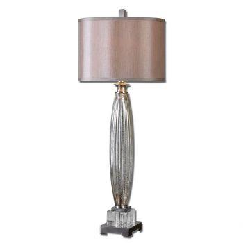 "Uttermost Loredo 37"" Mercury Glass Table Lamp in Brushed Nickel"