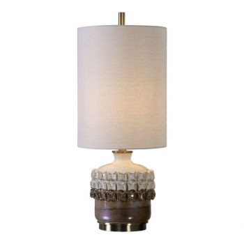 """Uttermost Elsa 25"""" Accent Lamp in Iridescent Rust Brown And Gloss Ivory"""
