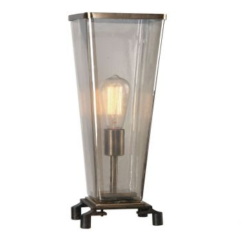 "Uttermost Emidio 17.25"" Glass Hurricane Lamp in Old Dark Rust Bronze"