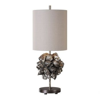 """Uttermost Nipa Palm 27"""" Accent Lamp in Antique Silver Champagne"""