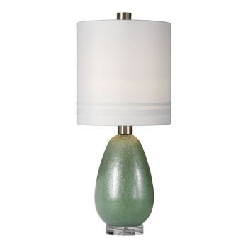 "Uttermost Aileana 32.5"" Frosted Rust Green Glass Lamp in Brushed Nickel"