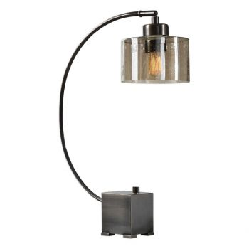 """Uttermost Cervino 25.5"""" Arched Iron Lamp in Plated Dark Oil Rubbed Bronze"""