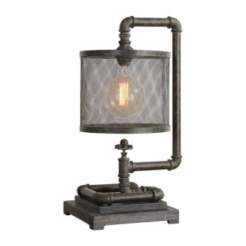 """Uttermost Bristow 22.75"""" Pipe Lamp in Patina Gray Washed Rust Bronze"""