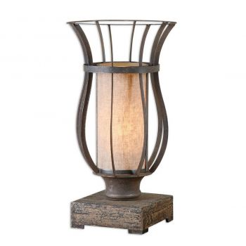 """Uttermost Minozzo 18"""" Accent Lamp in Rustic Bronze"""