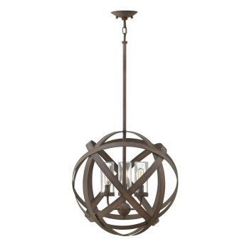 Hinkley Carson 3-Light Outdoor Chandelier in Vintage Iron
