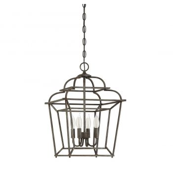 "Savoy House Howell 20"" 4-Light Foyer Pendant in Artisan Rust"