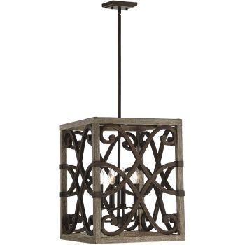 "Savoy House Amador 16"" 4-Light Foyer Lantern in Noblewood/Iron"