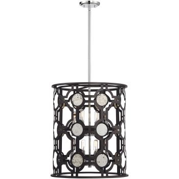 "Savoy House Chennal 19"" 8-Light Foyer Lantern in Bronze/Chrome"