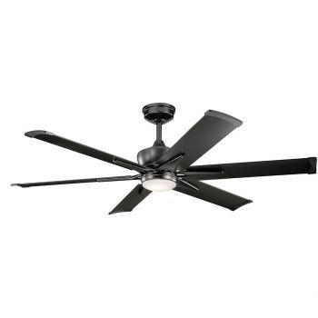 """Kichler Szeplo Patio 60"""" LED Ceiling Fan in Satin Black"""