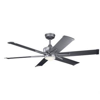 """Kichler Szeplo Patio 60"""" LED Ceiling Fan in Weathered Steel Powder Coat"""
