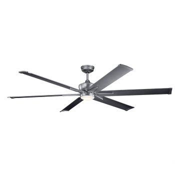"""Kichler Szeplo Patio 80"""" LED Ceiling Fan in Weathered Steel Powder Coat"""