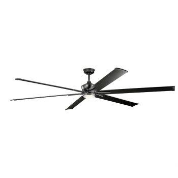 """Kichler Szeplo Patio 96"""" LED Ceiling Fan in Satin Black"""