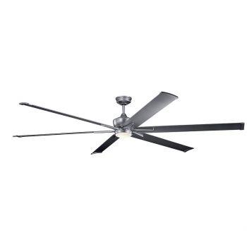 """Kichler Szeplo Patio 96"""" LED Ceiling Fan in Weathered Steel Powder Coat"""