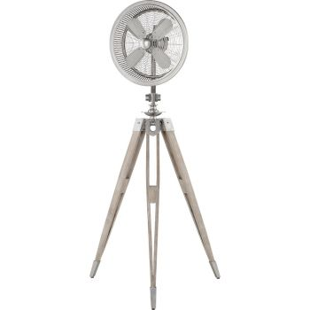 Quorum International Triumph Floor Fan in Satin Nickel