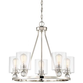 "Minka Lavery Studio 5 5-Light 26"" Contemporary Chandelier in Polished Nickel"