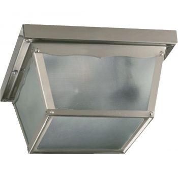 """Quorum International 8"""" Outdoor Ceiling Light in Satin Nickel"""