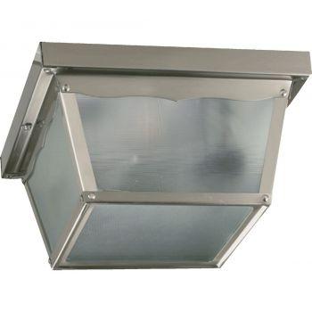 "Quorum International 2-Light 9"" Outdoor Ceiling Light in Satin Nickel"