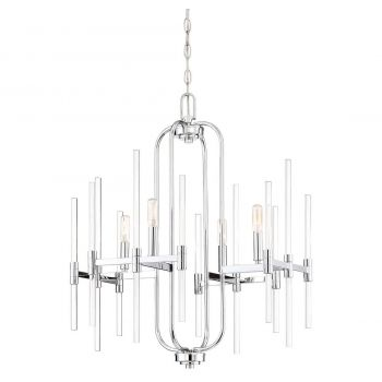 "Minka Lavery Pillar 4-Light 22"" Transitional Chandelier in Chrome"