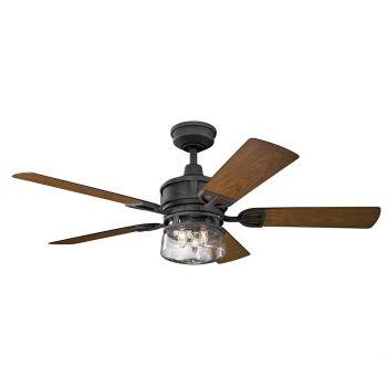 "Kichler Lyndon Patio 52"" 3-Light Ceiling Fan in Distressed Black"