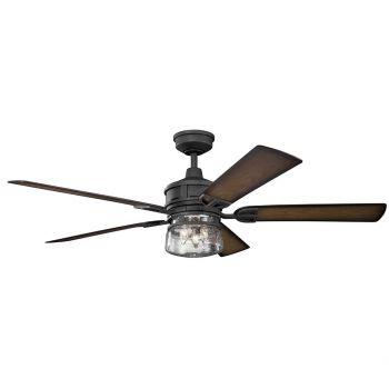"Kichler Lyndon Patio 60"" 3-Light Ceiling Fan in Distressed Black"
