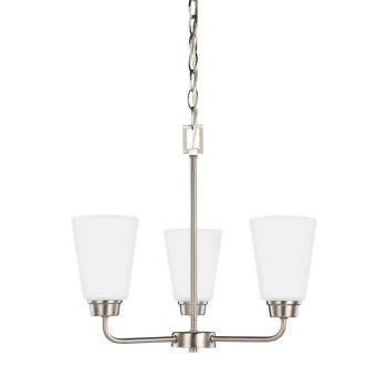 Sea Gull Lighting Kerrville 3-Light Chandelier in Brushed Nickel