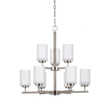 "Sea Gull Lighting Oslo 26"" 9-Light Chandelier in Brushed Nickel"