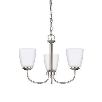 Sea Gull Bannock 3-Light Satin Etched Chandelier in Brushed Nickel