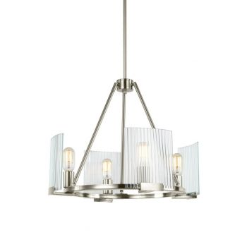 Sea Gull Storey 4-Light Clear Ribbed Chandelier in Brushed Nickel