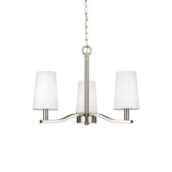 "Sea Gull Nance 21"" 3-Light Chandelier in Brushed Nickel"