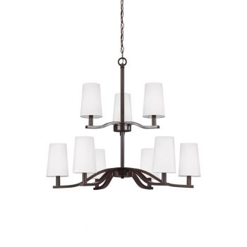 "Sea Gull Lighting Nance 31.5"" 9-Light Chandelier in Heirloom Bronze"