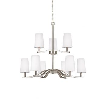 "Sea Gull Lighting Nance 31.5"" 9-Light Chandelier in Brushed Nickel"