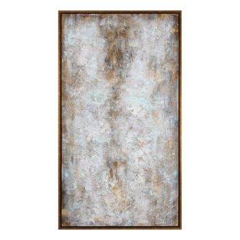 "Uttermost Blizzard 74"" Abstract Art in Gold Leaf Gallery Frame"