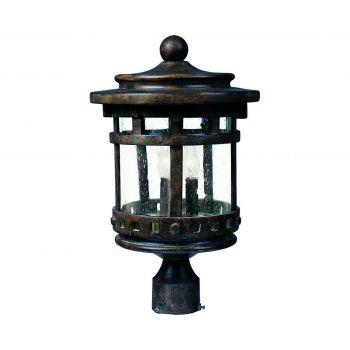 """Maxim Lighting Santa Barbara 16"""" 3-Light Outdoor Post Lantern in Sienna"""