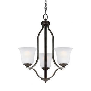 "Sea Gull Emmons 19.5"" 3-Light Satin Etched Chandelier in Heirloom Bronze"