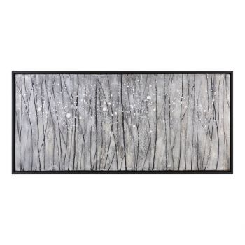 "Uttermost Snowfall 64"" Modern Landscape Art in Black Satin Frame"