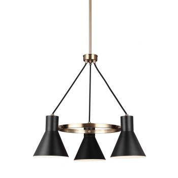"Sea Gull Towner 24"" 3-Light Black Steel Shade Chandelier in Satin Bronze"