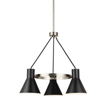 "Sea Gull Towner 24"" 3-Light Black Steel Chandelier in Brushed Nickel"