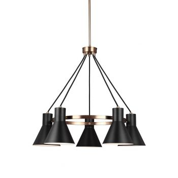 "Sea Gull Towner 29"" 5-Light Black Steel Shade Chandelier in Satin Bronze"