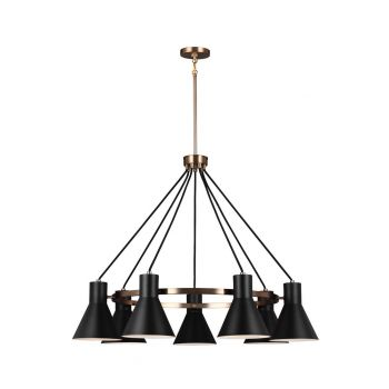 "Sea Gull Towner 35"" 7-Light Black Steel Shade Chandelier in Satin Bronze"