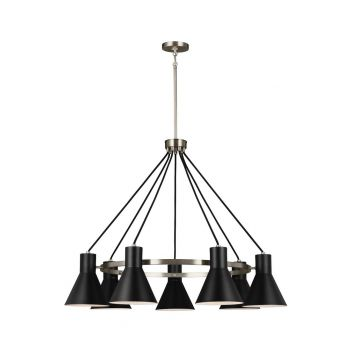 "Sea Gull Towner 35"" 7-Light Black Steel Chandelier in Brushed Nickel"
