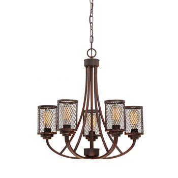 Millennium Lighting Akron 5-Light Chandelier in Rubbed Bronze