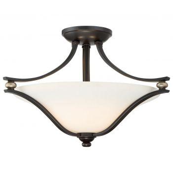 "Minka Lavery Shadowglen 2-Light 18"" Ceiling Light in Lathan Bronze with Gold Highli"