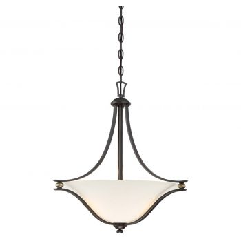 "Minka Lavery Shadowglen 3-Light 21"" Pendant Light in Lathan Bronze with Gold Highli"