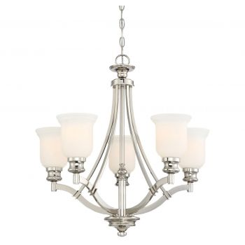 "Minka Lavery Audrey'S Point 5-Light 25"" Traditional Chandelier in Polished Nickel"