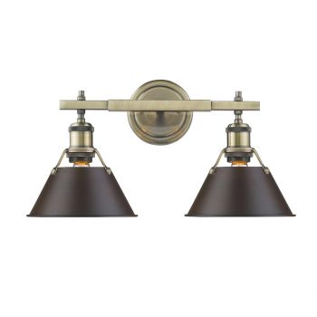 "Golden Orwell 18.25"" 2-Light Bath Vanity in Aged Brass w/ Rubbed Bronze Shades"